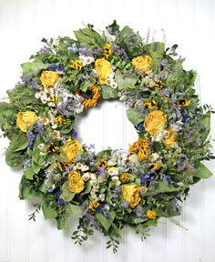 "Dried Floral Wreath ""Sunny Garden"", Floral Decor,  Wreaths, Dried Flowers, Cottage Decor, Spring Wreath. $52.00, via Etsy."