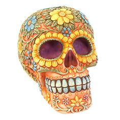 Wholesale Floral candy skull money box - Something Different Sugar Skull Artwork, Sugar Skull Painting, Mexican Skulls, Mexican Folk Art, Beaded Skull, Crystal Skull, Skull Template, Sugar Scull, Seed Bead Art