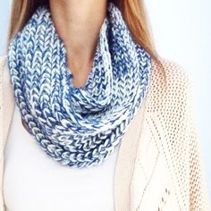 | new | blue and white infinity scarf offers welcome new without tag one loop blue and white knit infinity scarf. •970319• Accessories Scarves & Wraps