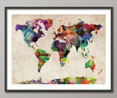 Watercolor Map of the World Art Print - I have similar ideas to do paintings like this!