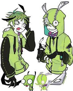 Disney & Cartoon In Anime - Invader Zim Cartoon As Anime, Cartoon Kunst, Anime Guys, Pretty Art, Cute Art, Panty And Stocking Anime, Anime Version, Cartoon Art Styles, The Villain