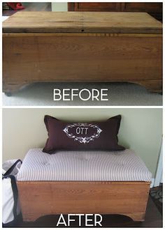 √ Diy Storage Bench for Bedroom Hope Chest. 11 Diy Storage Bench for Bedroom Hope Chest. How to Upholster A Storage Piece for Extra Style Blanket Box, Blanket Chest, Cedar Chest Redo, Furniture Makeover, Home Furniture, Furniture Ideas, Bedroom Cushions, Diy Storage Bench, Storage Chest