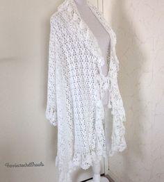 Bridal Shawl, Wedding Shawl, Bridal Lace, Crochet Wedding, Crochet Lace, White Shawl, Black And White Scarf, Lace Scarf, Capelet