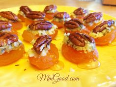 A great appetizer 5 minute appetizer that takes less than 5 minutes to assemble. Dried apricots, blue cheese, nuts and honey...a unique recipe!