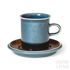 A set of a cup and a saucer for hot drinks. Arabia Meri made in Finland. Designed by Ulla Procopé. Rustic Ceramics, Coffeecup, Paint Stripes, Blue Plates, Coffee Set, Vintage Dishes, Modernism, Scandinavian Design, Finland