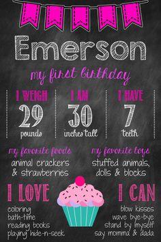 Girls First Birthday Chalkboard Poster  Birthday by MsThirdGrade, $10.00