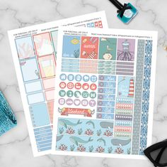 """Heading off to Florida for a mini-vacay but I couldn't leave without posting this week's #freeplannerstickers  This week's freebie #weeklykit is called """"Harbor Town"""" & full of cute seaside characters. How adorable is that little seagull?  Download link is in my bio, happy planning #plannergirl"""