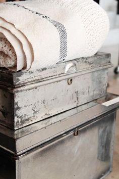 fog linen studio, tokyo - vintage metal trunks. Can't get enough trunks!