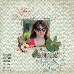 Alexis - A digital scrapbook layout made with 3 new digital scrapbooking kits from Etc by Danyale from The Lilypad: Peace & Love Kit, Peace & Love Paint, Peace & Love Wood Alpha.
