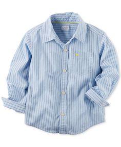 Carter's Blue Dobby Woven Shirt, Toddler Boys (2T-4T)