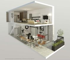 Example of a 2-storey Live-Work unit at DUKE Condos, image courtesy of TAS