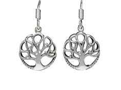 Sterling Silver Round Tree Of Life Drop Earrings Tree Of Life Jewelry, Butterfly Jewelry, Sterling Silver Jewelry, Washer Necklace, Stainless Steel, Drop Earrings, Women, Drop Earring, Woman