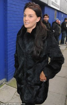 Scouse housewife: Danielle wore the black fur coat to Goodison Park, Liverpool, to watch her husband play Fur Fashion, Fashion Wear, Danielle Lloyd, Coleen Rooney, Black Fur Coat, Winter Chic, Celebs, Celebrities, Kate Moss