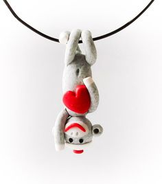 Traditional Gray Sock Monkey Pendant with Heart by MagicByLeah, $26.00