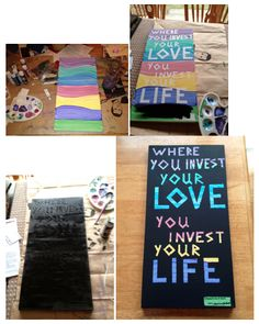 Mumford & Sons quote: painted the canvas with acrylics, used painters' tape to spell out the quote, painted two coats of black over, let it dry, and then peeled off the lettering to reveal the color! so glad it turned out :)