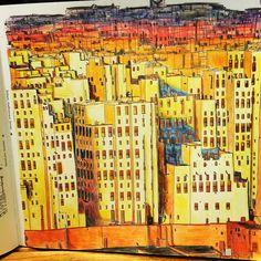 """Finished product! #adultcoloringbook #stevemcdonald #fantasticcities #art @stevedmcdonald"""