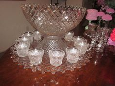 Welcome, Offering this Lovely Westmoreland English Hobnail 15 piece Punch Bowl set. use punch bowl on stand or punch bowl on platter with 12