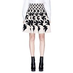 Alexander McQueen 'Swallow intarsia stretch knit skirt (1,645 CAD) ❤ liked on Polyvore featuring skirts, stretchy skirts, alexander mcqueen, stretch skirts, stretch knit skirt and white knee length skirt