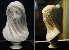 Veiled_Virgin Giovanni Strazza  ( Italian, 1818 - 1875)
