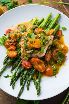 Cod in a Tomato Lemon Butter Sauce Recipe : A quick and easy, light and healthy cod in a tomato, lemon, butter and garlic sauce with plenty of fresh herbs. Fish Recipes, Seafood Recipes, Gourmet Recipes, Cooking Recipes, Healthy Recipes, Cod Recipes, Cooking Tips, Fish Dishes, Veggie Dishes