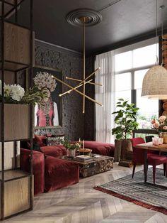 Living Room Wood Floor, Living Room Red, Living Room Colors, Living Room Designs, Living Room Decor, Luxury Interior, Decor Interior Design, Contemporary Interior, Gold Interior