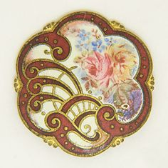 """Emaux-peints flowers decorate this brass button. The enamel has a matte finish and ranges in color from gentle pastels to a vibrant red. The button measures 7/8"""" in diameter."""