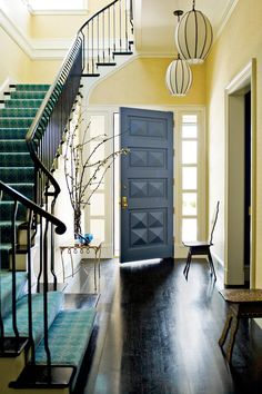 Confidence with Color - Our Most Fabulous Foyers - Southernliving. The exuberant purple of this diamanté-patterned…