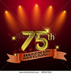 75th Anniversary, Party poster, banner or invitation - background glowing element. Vector Illustration. - stock vector
