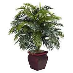 Nearly Natural Areca with Decorative Planter Polyester Plant (Areca w/Decorative Planter Silk Plant)