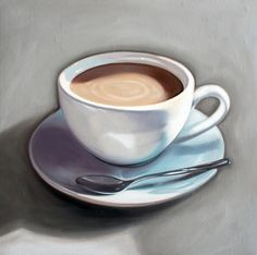 Cup of Coffee – 12″ x 12″ Oil Painting on Wood Panel Originals and Giclée Prints available @ whimsicalwildartwork.etsy.com