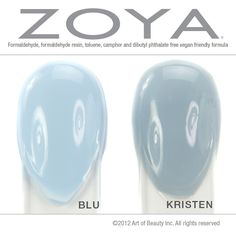 Zoya Nail Polish, Zoya Nail Care Treatments and Zoya Hot Lips Lip Gloss: No Dupes: Zoya Nail Polish in Blu and Kristen Compared