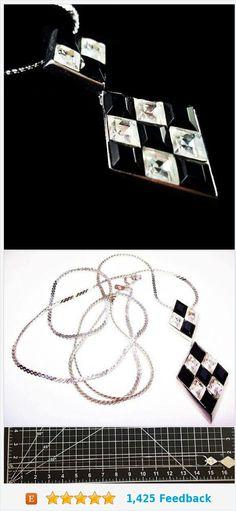 "Trifari Harlequin Pendant Necklace Black White Glass Rhinestones Diamond Cut Silver Metal Geometrics Art Deco 24"" Vintage https://www.etsy.com/BrightgemsTreasures/listing/558000085/trifari-harlequin-pendant-necklace-black?ref=shop_home_active_8"