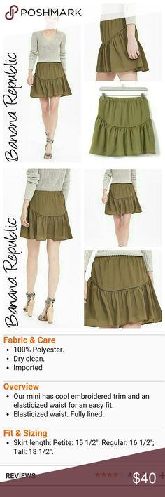 New Embroidered trim mini skirt green olive New w tags Banana Republic Skirts Mini