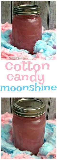 This cotton candy moonshine recipe is delicious! Such a fun drink for summer. Cotton Candy Drinks, Cotton Candy Recipes, Homemade Cotton Candy, Cotton Candy Cocktail, Moonshine Recipes Homemade, Homemade Whiskey, Homemade Alcohol, Homemade Liquor, Moonshine Alcohol
