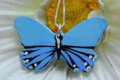 Blue Makes Me Happy Bright Blue Butterfly Necklace by www.BflyJune.Etsy.com, $30.00