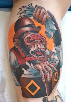 Disney's monkey and its wisdom tattoo Monkey Tattoos, Weird Tattoos, Leg Tattoos, Horror Tattoos, Awesome Tattoos, Japanese Monkey, Dessin Old School, Wisdom Tattoo, Tattoo Samples