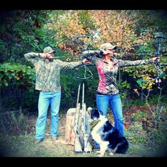 Couples that hunt together, stay together ♥ MandM at full draw! :)