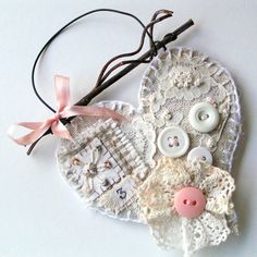 Embellished linen heart