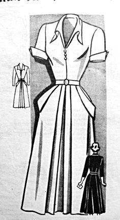 1940s Dress Pattern V Neckline  Front Pleat With Side Pockets Wing Cuffs Marian Martin 9215 Vintage Sewing Pattern Bust 32