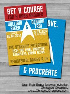 Star Trek Baby Shower Invitation #baby #shower #invitation #invite #personalized #custom #geeky #geek #nerd #nerdy #fan #trekie #StarTrek #Spock #LiveLongAndProsper #adult #ChrispixsCreations