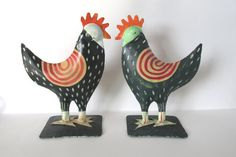 Vintage folk art roosters  home decor  by ConMisManosVintage