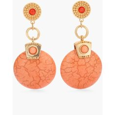 Chico's Keira Earrings ($29) ❤ liked on Polyvore featuring jewelry, earrings, orange, medallion jewelry, earrings jewelry, chicos earrings, orange jewelry and medallion earrings