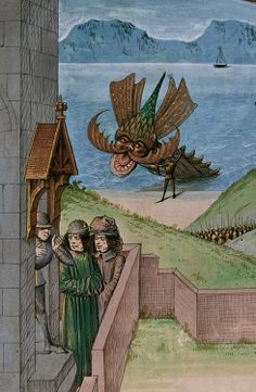 """Morbidus and the sea monster.  Jean of Wavrin, Recueil des croniques d'Engleterre. France, N. E. (Lille?) and Netherlands, S. (Bruges), c.1470-1480. """"When King Morbidus heard the pitiful complaint that the people made of this beast, he trusted so much in his own courage and strength, that he went alone against the monster.  However, I have often heard that he is a fool who confides in his own hardihood, for too great hardihood produces rashness, and rashness is not valour..."""""""