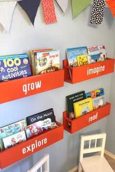 Children's Bookshelf by LittleAcornsByRo on Etsy, $30.00    These are amazing!