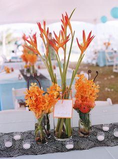 Flowers, Reception, Orange, Decor, Blue, Wedding, Beach, Centerpieces, Colorful, Hawaii, Votives, Destination wedding, Hawaiian wedding, Kuaui