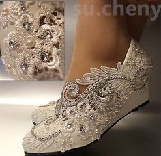 31490 Wedding-Shoes-And-Bridal-Shoes White ivory wedge pearls lace crystal Wedding shoes Bridal high heels pumps size  BUY IT NOW ONLY  $36.99 White ivory wedge pearls lace crystal Wedding shoes Bridal high heels pumps size...