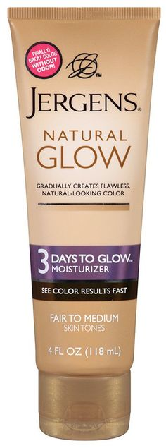 Review! Jergens Natural Glow 3 Days to Glow gradual self tanner/moisturizer. Around $8 - 7 at drugstores.
