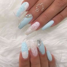 Pastel Blue and White Ballerina Nails With Lace Detail and Rhinestones