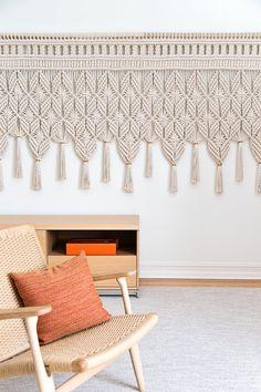 Modern Macrame Wall Hanging With Brass Mounts & Tassels - 9' Wide, 4' High