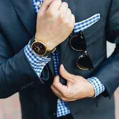 Just a navy suit worn with a blue gingham dress shirt. Gingham Shirt, Blue Gingham, Gingham Dress, Dark Blue Suit, Dark Navy, Dark Brown, Men's Pocket Squares, Black Leather Watch, Black Sunglasses